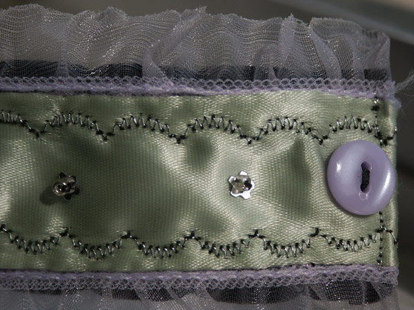 Green Satin Ruffle Bracelet (detail 2)