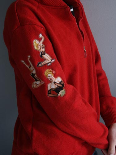 side view - appliqued pinups.