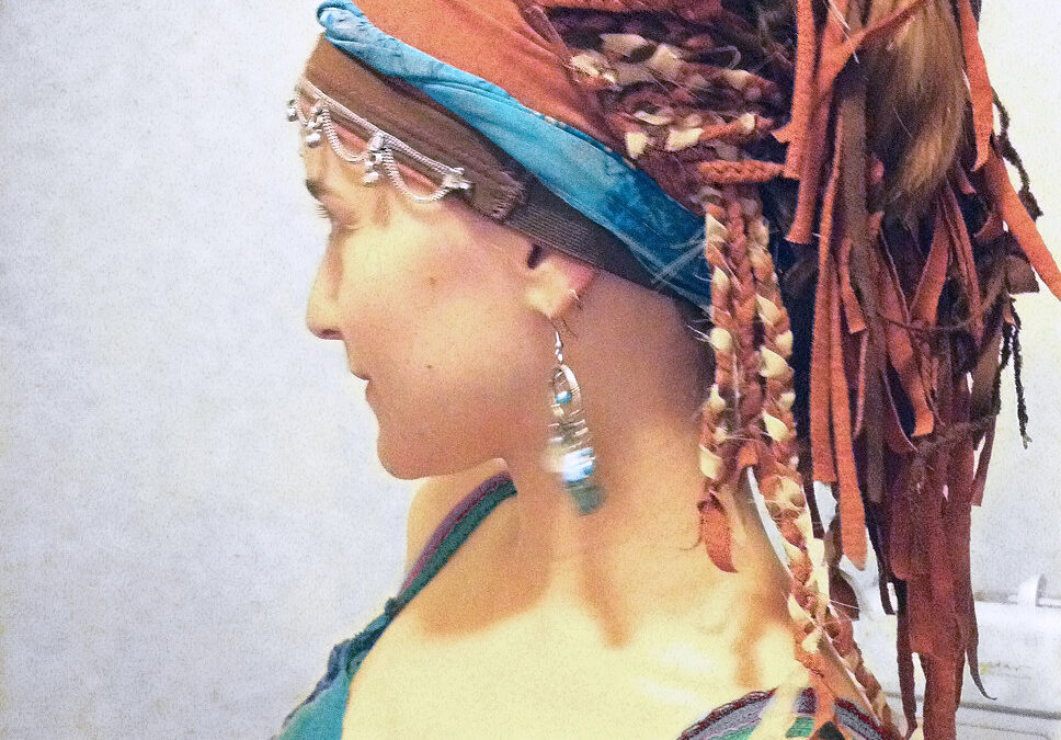 Cotton Wig made from three colors of scrap fabric